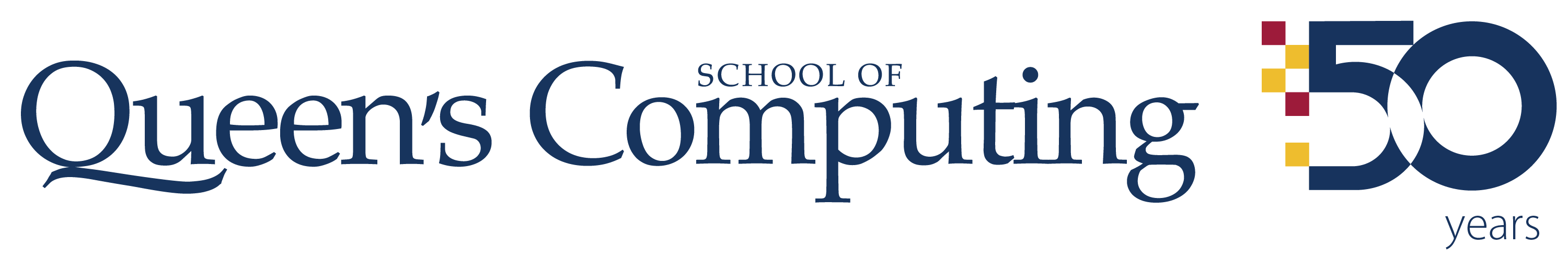 Queen's School of Computing 50th emblem for light backgrounds